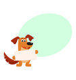 funny brown dog character holding empty board vector image