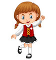 girl wearing vest with switzerland flag vector image vector image