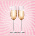 glass of champagne on pink background vector image vector image