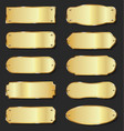 golden metal plates collection on black background vector image vector image