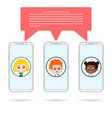 group phones chating vector image vector image