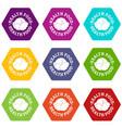 health food icons set 9 vector image