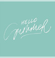 hello summer lettering on green vector image vector image