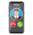 incoming video call on smartphone vector image vector image