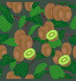 kiwi fruit tree seamless pattern on green vector image vector image