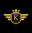 letter k shield wing vector image vector image