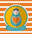Matryoshka vintage card design Green and orange vector image vector image