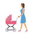 mother pushing pink baby carriage vector image