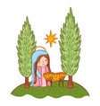 nativity christmas cartoon vector image