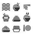 noodle icons asian food bar logos set vector image