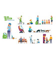 people helping elderly animals cleaning city vector image