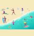 people on the sand sea beach people surfing vector image vector image