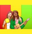 pop art rastafarian couple - man woman vector image