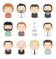 Set of colorful male faces icons Funny cartoon vector image vector image