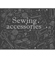 Sewing accessories chalk vector image vector image