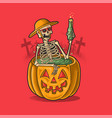 skeleton holiday bathing with drinking beer vector image