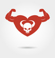 skull in heart with male biceps vector image vector image