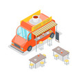 street cafe food truck isometric view vector image vector image