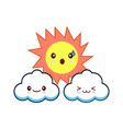 sun with face and clouds engraving vector image vector image