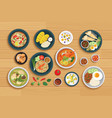 thai food and ingredient on a wooden background vector image vector image