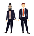 two cartoon men in suits vector image