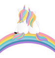 two enamored unicorns and rainbow vector image