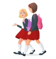 Two girls in uniform on the way to school vector image vector image