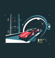 two levels cars tunnel with map traffic vector image