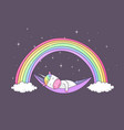 unicorn sleeping vector image vector image