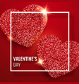 valentines day background with two shining red vector image