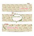 vintage flowers horizontal banner set vector image