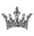 vintage royal crown template monochrome style vector image