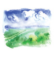watercolor a summer landscape vector image vector image