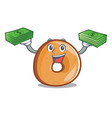 with money bag bagels mascot cartoon style vector image vector image