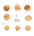 5 coffee stain watercolor 01 vector image vector image