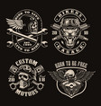a set black and white vintage biker emblems vector image vector image