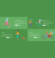 active lifestyle and city park set of posters vector image vector image