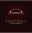 american football ball tournament logo on black vector image vector image