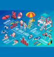 beach lifeguards isometric infographics vector image