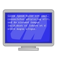 Blue computer screen with text icon cartoon style vector image