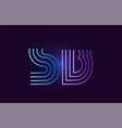 blue pink sb s b gradient alphabet letter vector image vector image