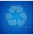 Blueprint Recycle Symbol vector image vector image