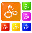 boa snake icons set color vector image vector image