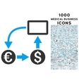 Cashflow Euro Exchange Icon with 1000 Medical vector image vector image