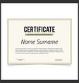certificate template with green designe borders vector image