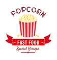 Cinema fast food snacks icon with popcorn bucket vector image