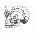 Cook skull with a ladle vector image