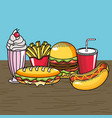 delicious fast food with icream and soda vector image vector image