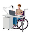 disabled man in wheelchair working with computer vector image
