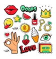 Fashion Badges Patches Stickers Lips Heart vector image vector image
